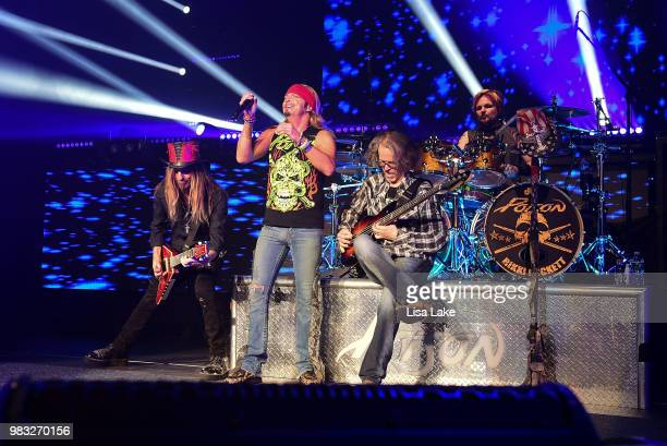 CC DeVille Bret Michaels Bobby Dal and Rikki Rockett of Poison perform during the Nothin' But a Good Time Tour 2018 at PPL Center on June 24 2018 in...
