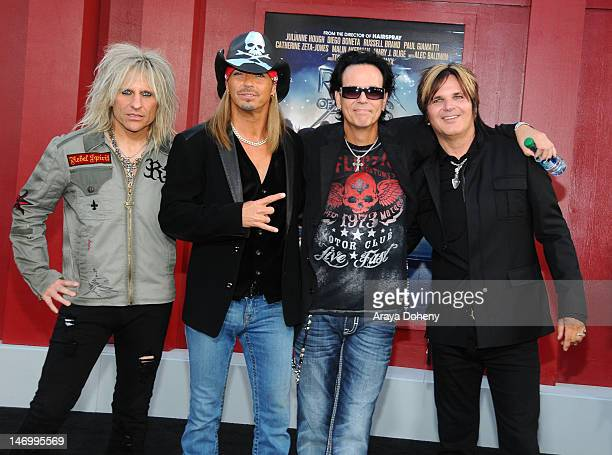 C DeVille Bret Michaels Bobby Dall and Rikki Rockett arrive at the Los Angeles premiere of Rock Of Ages at Grauman's Chinese Theatre on June 8 2012...