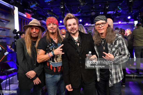 CC DeVille Bret Michaels Rikki Rockett and Bobby Dall of Poison attend the press conference for THE STADIUM TOUR DEF LEPPARD MOTLEY CRUE POISON at...