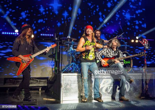 CC DeVille Bret Michaels Rikki Rockett and Bobby Dall of Poison perform during the Nothin' But a Good Time Tour 2018 at DTE Energy Music Theater on...