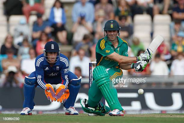 DeVilliers of South Africa hits out during the 2nd NatWest Series ODI between England and South Africa at Ageas Bowl on August 28 2012 in Southampton...