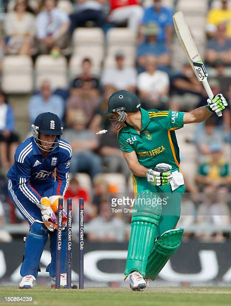 DeVilliers of South Africa is bowled out during the 2nd NatWest Series ODI between England and South Africa at Ageas Bowl on August 28 2012 in...