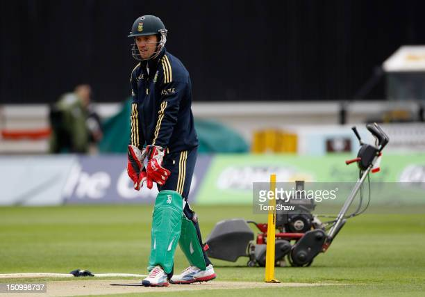 DeVilliers of South Africa looks on during the South Africa nets session at The Kia Oval on August 30 2012 in London England