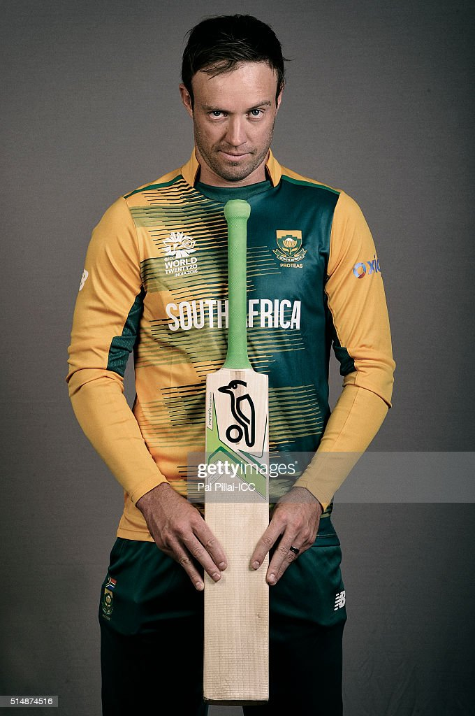 AB Devilliers of South Africa poses during the official photocall for the ICC Twenty20 World on March 11, 2016 in Mumbai, India.
