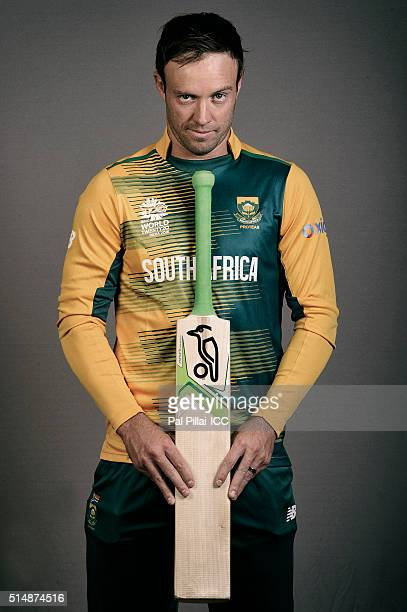 AB Devilliers of South Africa poses during the official photocall for the ICC Twenty20 World on March 11 2016 in Mumbai India