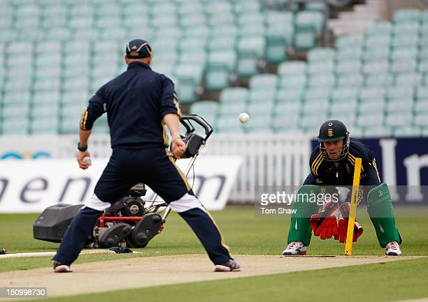 DeVilliers of South Africa practices his keeping during the South Africa nets session at The Kia Oval on August 30 2012 in London England