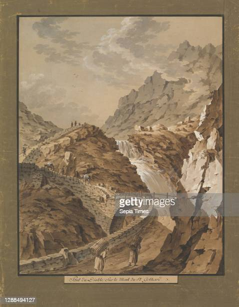 Devil's Bridge toward the Gothard Mountain in Switzerland, 1785–1824, Brush and brown, gray and green watercolor and bodycolor. Framing line in black...