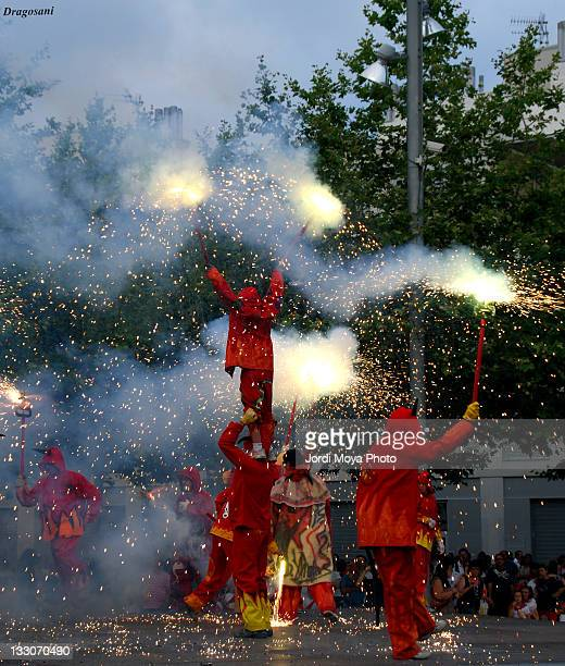devils dance in festivals - devil costume stock photos and pictures