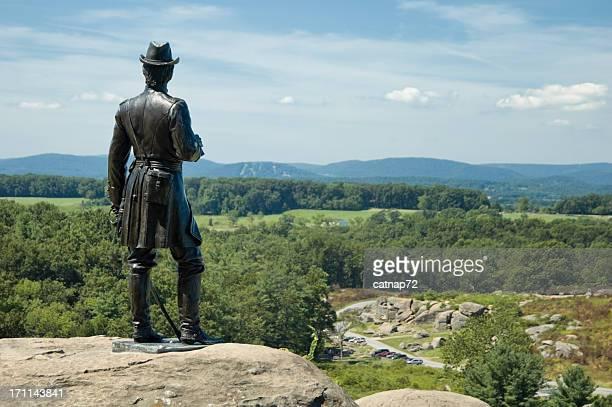 devils den from little round top, gettysburg battlefield overlook - gettysburg stock photos and pictures
