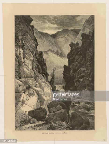 Devil's Gate, Weber Cañon, Thomas Moran, American, b. Britain, 1837–1926, John Filmer , Wood engraving on cream wove paper, View of river running...