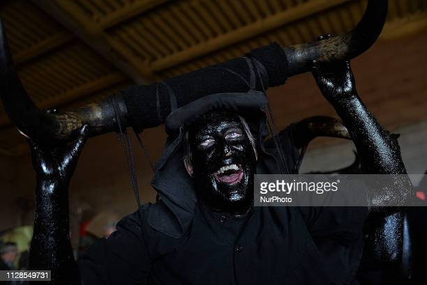 Devils in Luzon´s Carnival during an ancient Carnival in Guadalajara Spain on 2nd March 2019 The Devils of Luzón that carry antlers of bull on the...