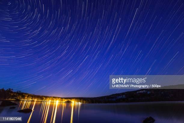 devils lake star trail - diablo lake fotografías e imágenes de stock