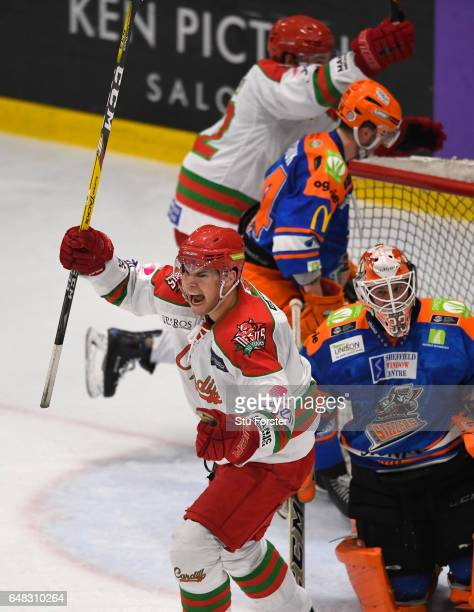 Devils player Mark Louis celebrates the second goal during the Ice Hockey Elite League Challenge Cup Final between Sheffield Steelers and Cardiff...