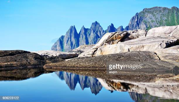 devil's teeth or okshornan, norway - devils island stock photos and pictures
