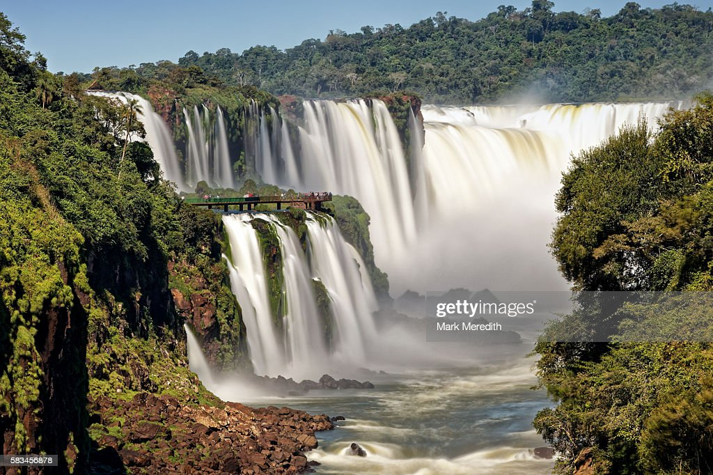Devil's Throat, garganta del diablo, cataract at Iguazu Falls and walkway on the Brazil side seen from Argentina side : Stock Photo