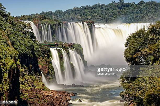 Devil's Throat, garganta del diablo, cataract at Iguazu Falls and walkway on the Brazil side seen from Argentina side