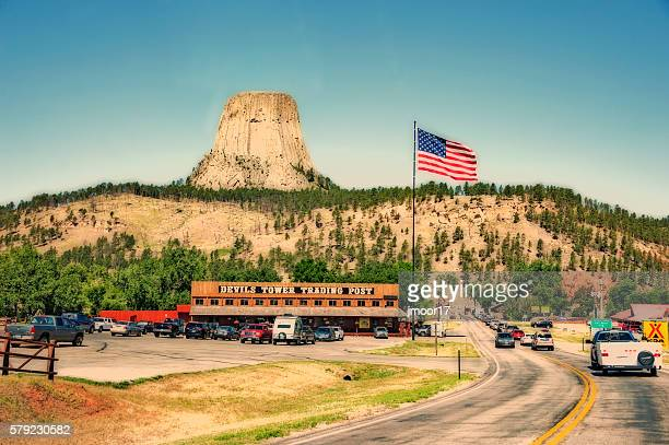 Devils Tower Entrance with line of visitors duplex effect