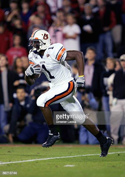 Devin Aromashodu of the Auburn Tigers carries the ball during the game with the Georgia Bulldogs on November 12 2005 at Sanford Stadium in Athens...