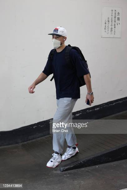 Devin Booker of Team USA departs the hotel en route to the game against Spain during the 2020 Tokyo Olympics on August 3, 2021 in Tokyo, Japan. NOTE...