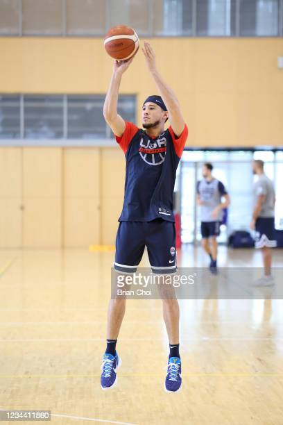 Devin Booker of Team USA shoots the ball at practice during the 2020 Tokyo Olympics on August 2, 2021 in Tokyo, Japan. NOTE TO USER: User expressly...
