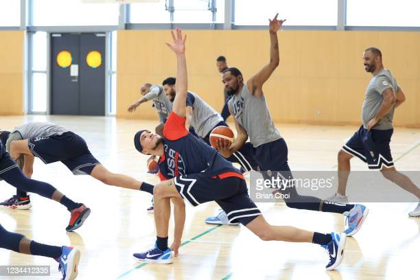 Devin Booker of Team USA stretches before practice during the 2020 Tokyo Olympics on August 2, 2021 in Tokyo, Japan. NOTE TO USER: User expressly...