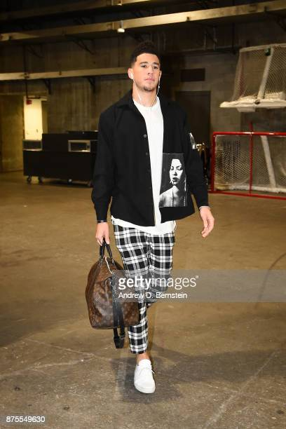 Devin Booker of the Phoenix Suns arrives before the game against the Los Angeles Lakers on November 17 2017 at STAPLES Center in Los Angeles...