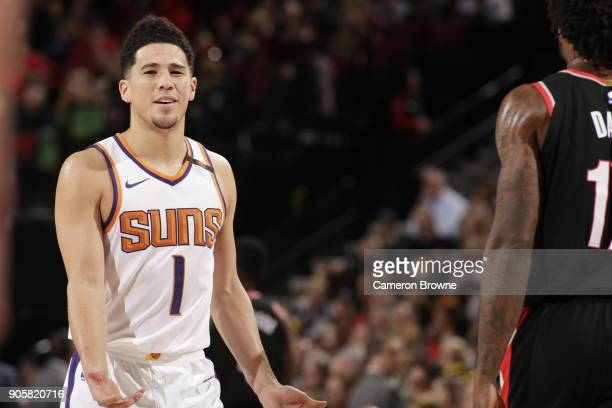 Devin Booker of the Phoenix Suns as seen during the game against the Portland Trail Blazers on January 16 2018 at the Moda Center in Portland Oregon...