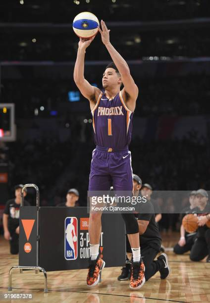Devin Booker of the Phoenix Suns competes in the 2018 JBL ThreePoint Contest at Staples Center on February 17 2018 in Los Angeles California