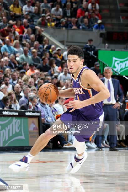 Devin Booker of the Phoenix Suns drives to the basket against the Utah Jazz on March 25 2019 at vivintSmartHome Arena in Salt Lake City Utah NOTE TO...