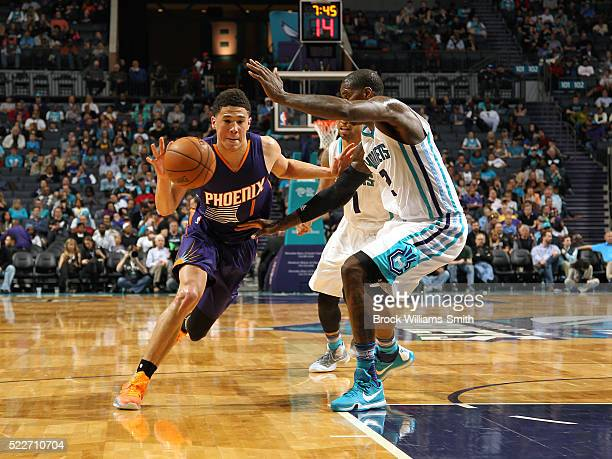 Devin Booker of the Phoenix Suns drives to the basket against the Charlotte Hornets on March 01 2016 at the Time Warner Cable Arena in Charlotte...