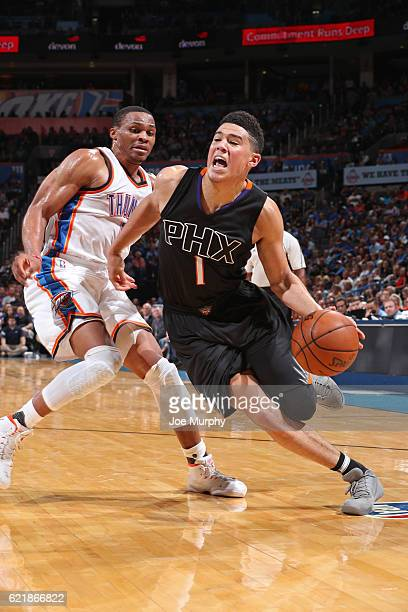 Devin Booker of the Phoenix Suns drives to the basket against the Oklahoma City Thunder on October 28 2016 at the Chesapeake Energy Arena in Oklahoma...