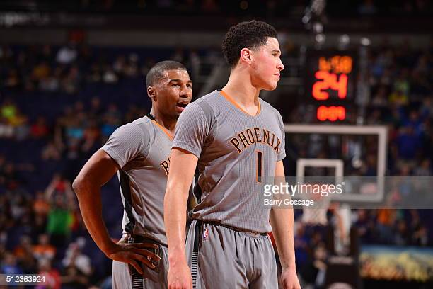 Devin Booker of the Phoenix Suns during the game against the Brooklyn Nets on February 25 2016 at Talking Stick Resort Arena in Phoenix Arizona NOTE...