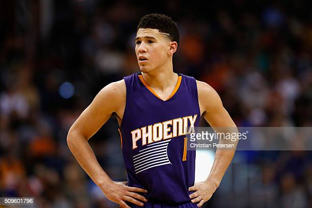Devin Booker of the Phoenix Suns during the NBA game against the Golden State Warriors at Talking Stick Resort Arena on February 10 2016 in Phoenix...