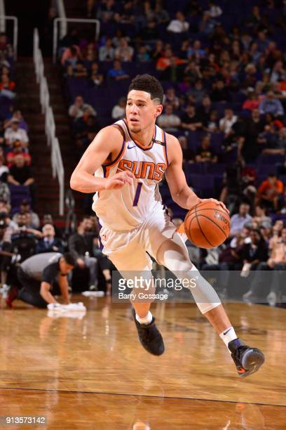 Devin Booker of the Phoenix Suns handles the ball against the Utah Jazz on February 2 2018 at Talking Stick Resort Arena in Phoenix Arizona NOTE TO...