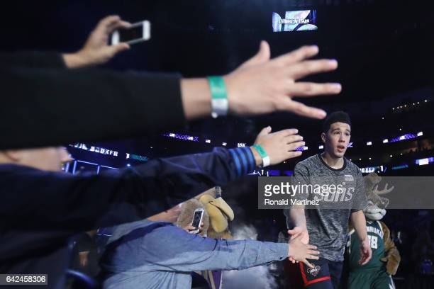 Devin Booker of the Phoenix Suns is introduced prior to the 2017 BBVA Compass Rising Stars Challenge at Smoothie King Center on February 17 2017 in...