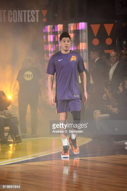 Devin Booker of the Phoenix Suns is introduced prior to the JBL ThreePoint Contest during State Farm AllStar Saturday Night as part of the 2018 NBA...