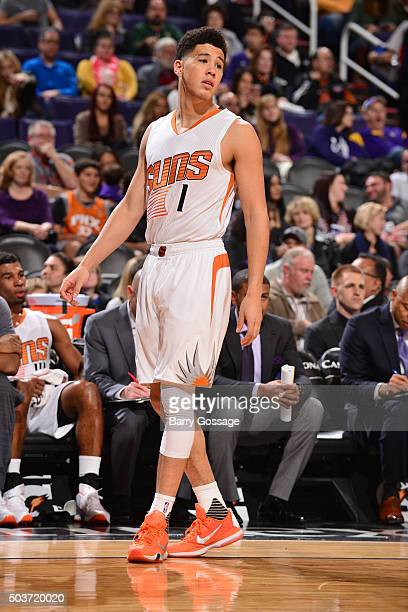 Devin Booker of the Phoenix Suns is seen during the game against the Charlotte Hornets on January 6 2016 at US Airways Center in Phoenix Arizona NOTE...