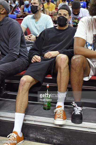 Devin Booker of the Phoenix Suns looks on during Day 1 of the 2021 Las Vegas Summer League on August 8, 2021 at the Thomas & Mack Center in Las...