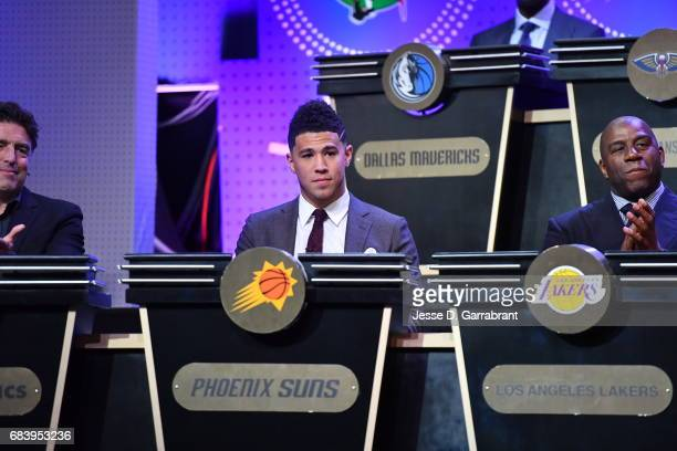 Devin Booker of the Phoenix Suns looks on during the 2017 NBA Draft Lottery at the New York Hilton in New York New York NOTE TO USER User expressly...