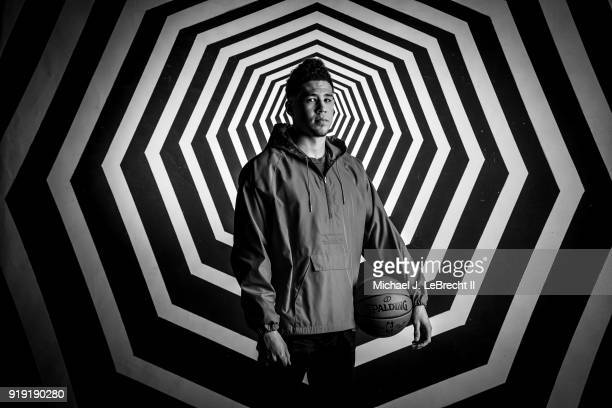 Devin Booker of the Phoenix Suns poses for portraits before the Mountain Dew Kickstart Rising Stars Game during AllStar Friday Night as part of 2018...