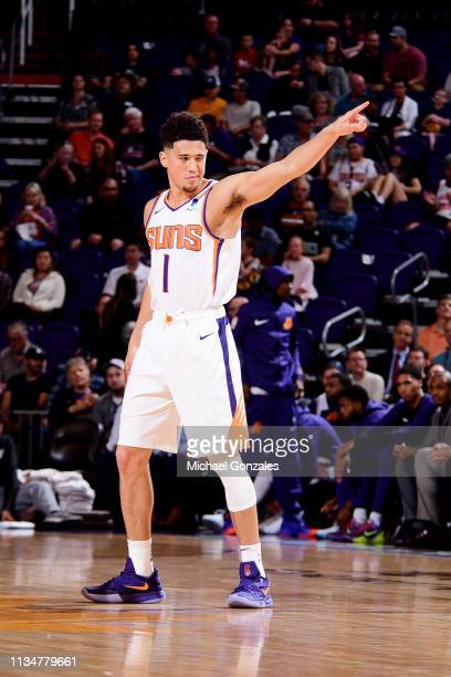 Devin Booker of the Phoenix Suns reacts against the Utah Jazz on April 3 2019 at Talking Stick Resort Arena in Phoenix Arizona NOTE TO USER User...
