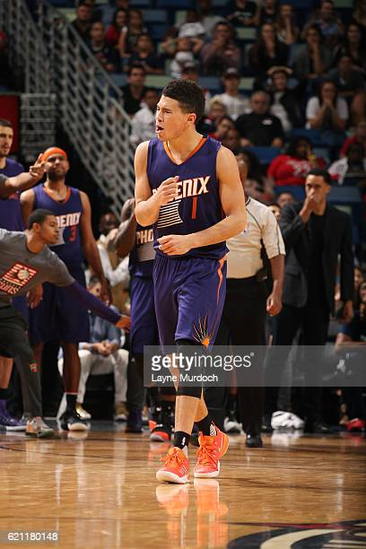 Devin Booker of the Phoenix Suns reacts during the game against the New Orleans Pelicans on November 4 2016 at the Smoothie King Center in New...