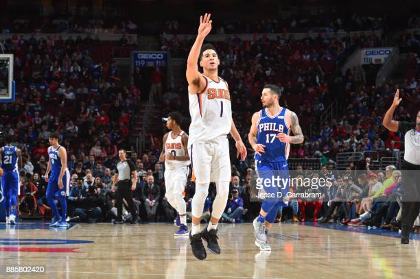 Devin Booker of the Phoenix Suns reacts during the game against the Philadelphia 76ers on December 4 2017 at Wells Fargo Center in Philadelphia...
