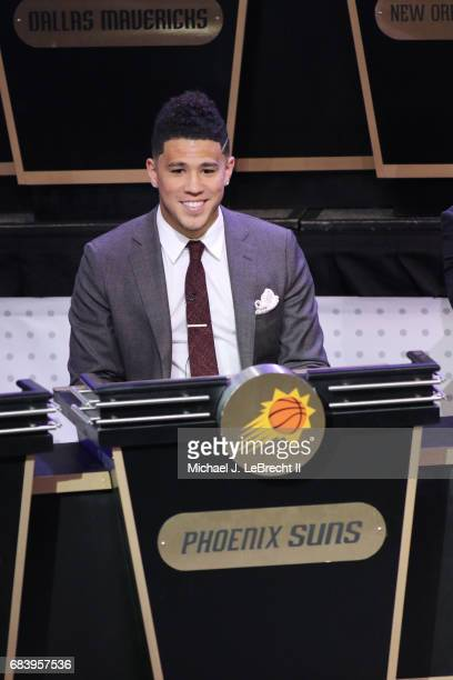 Devin Booker of the Phoenix Suns represents his team during the 2017 NBA Draft Lottery at the New York Hilton in New York New York NOTE TO USER User...