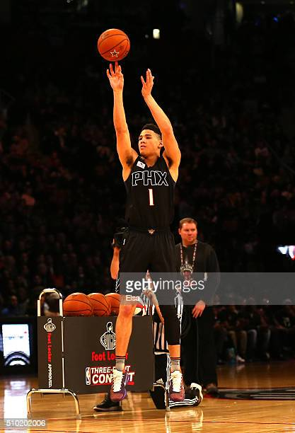 Devin Booker of the Phoenix Suns shoots in the Foot Locker ThreePoint Contest during NBA AllStar Weekend 2016 at Air Canada Centre on February 13...
