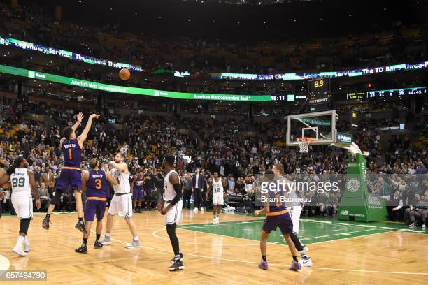 Devin Booker of the Phoenix Suns shoots the ball against the Boston Celtics on March 24 2017 at the TD Garden in Boston Massachusetts NOTE TO USER...
