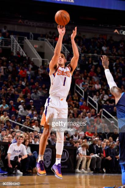 Devin Booker of the Phoenix Suns shoots the ball against the Oklahoma City Thunder on January 7 2018 at Talking Stick Resort Arena in Phoenix Arizona...