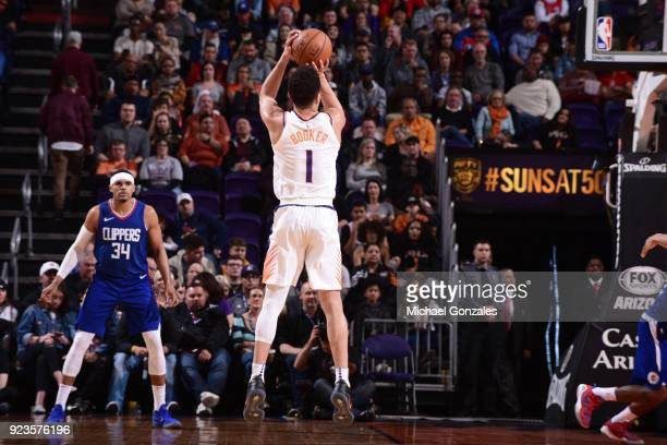 Devin Booker of the Phoenix Suns shoots the ball during the game against the LA Clippers on February 23 2018 at Talking Stick Resort Arena in Phoenix...
