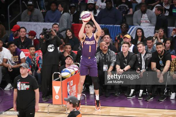 Devin Booker of the Phoenix Suns shoots the ball during the JBL ThreePoint Contest during State Farm AllStar Saturday Night as part of the 2018 NBA...