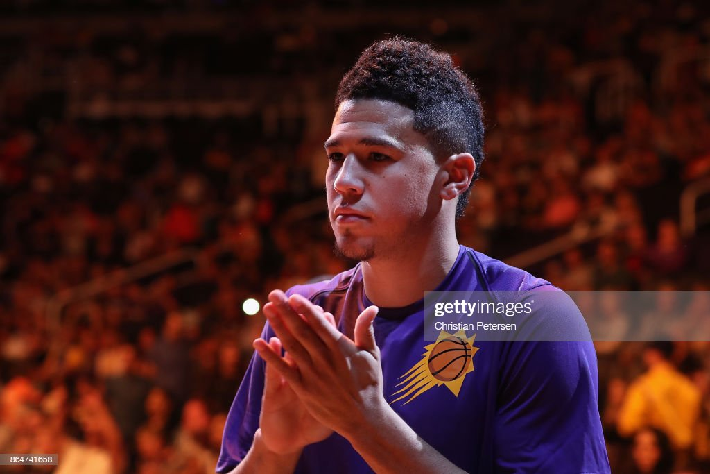 Devin Booker #1 of the Phoenix Suns stands on the court before the NBA game against the Los Angeles Lakers at Talking Stick Resort Arena on October 20, 2017 in Phoenix, Arizona. The Lakers defeated the Suns 132-130.
